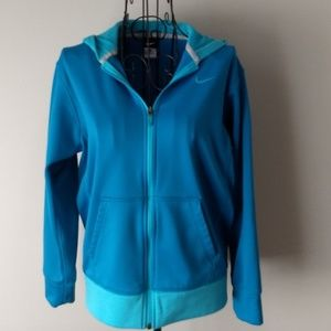 Nike Zip Hoodie Size Large Torquoise and Blue